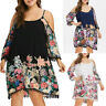 Plus Size Women Cold Shoulder Strapless Long Sleeve Flower Printed Dress Fashion