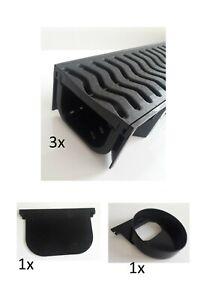 3x Shallow Channel Drain 1m Garage Pack, 1x Endcap 1x Endcap Outlet
