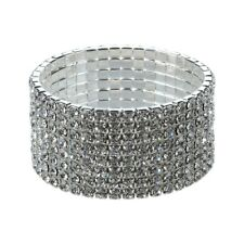 Silver Tone Crystal Clear Diamonte / Diamante 8 Row Stretchy Bracelet Prom