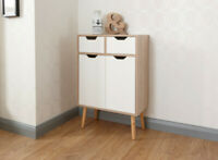 Retro Inspired Oak and White 2 Drawer 2 Cupboard Sideboard Great Storage Space!!