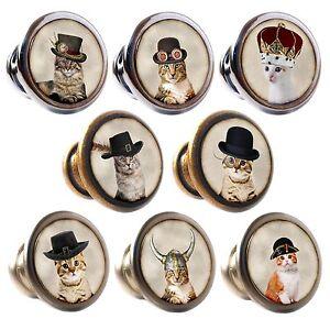 Zinc Alloy Knobs Cats in Hats 30mm Cupboard Drawer Door Handles Decorated