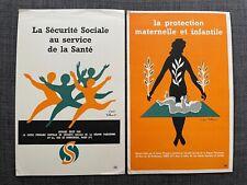 Lot de 2 buvards Sécurité Sociale protection infantile illustrateur Villemot