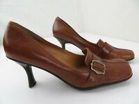 Enzo Angiolini Eadanette Brown Leather Heels Women's Shoes Size 7 M