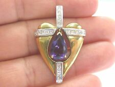 18Kt Gem Amethyst Diamond 2-Tone Gold Large Heart Pendant 6.60Ct