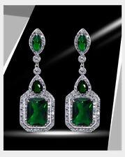 18k White Gold GF Long Earrings made w Swarovski Emerald Green Stone Quality