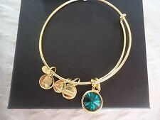 Alex and Ani MAY Birthstone EMERALD Yellow Gold Charm Bangle W/ Tag Card & Box