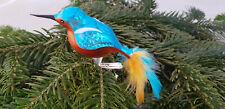Lauscha Eisvogel mit Clip Vogel Baumschmuck Glas mundgeblasen türkis orange 16cm