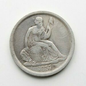 1837 Seated Liberty Silver Dime 10c No Stars ~ Better Date