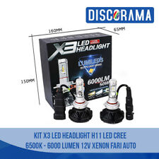 KIT X3 LED H11 HEADLIGHT LED CREE  6500K - 6000 LUMEN 12V XENON FARI AUTO
