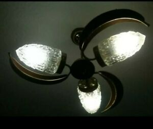 MID CENTURY TEAK BRASS & GLASS ROCKET 3 ARM CEILING LIGHT VINTAGE 60'S 70'S