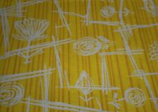 Antique French Art Deco Abstract Floral Cotton Fabric ~ Yellow Brown