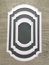 Stanzschablone/ Cutting dies Etikett Label Ticket mit Naht stitched