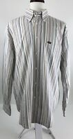 Faconnable Mens XL Relaxed Fit Multi-Color Striped Long Sleeve Button Front V-76