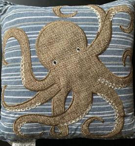 Secret Celebrity Octopus Pillow Feather Throw Pillows Nautical Stripe 16x16 Boho
