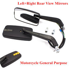 8MM/10MM LED Intergrated Motorcycle Side Mirror Reversing Left+Right Rearview