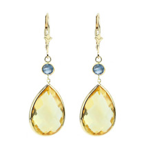 14K Yellow Gold Earrings with Pear Shape Citrine and Round Blue Topaz