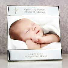 """Personalised Christening Photo Frame. Silver. Engraved Cross. 6""""x4"""" Picture Gift"""