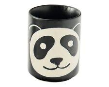 "Japanese 3""H Porcelain Sushi Tea Cup Kawaii Black Happy Panda Face Made in Japan"