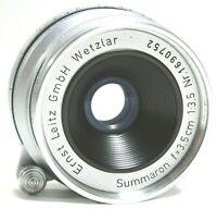 Leica 3.5cm f3.5 Summaron M39 Mount Prime Lens with Cap Bubble Case UK Fast Post