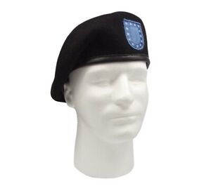 GI US Army Black Wool Beret Genuine Issue Military Beret With Flash