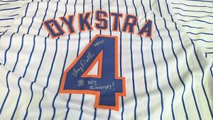 Lenny Dykstra Autographed New York Mets #4 Signed Custom Jersey Nails