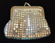 Vintage Coin Purse Silver Metal Mesh Satin Interior Snap Clutch Evening Formal