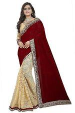 Designer Indian Bollywood Saree, Party Wear Maroon Sari, Saree with Blouse