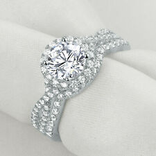 Women 1.6ct Round White Cz 925 Sterling Silver Wedding Engagement Ring Set Sz 6