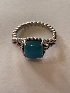 Pandora silver Ring Vibrant Spirit Turquoise SIZE 5 50 Authentic