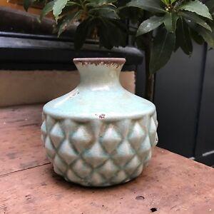 Short Duck Egg Blue Pineapple Bottle Vase, Ceramic Vintage Shabby Chic Style