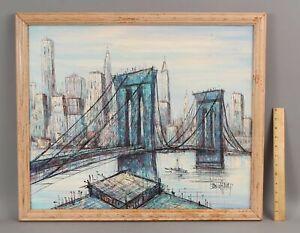 Signed DUCHAMP Mid-Century Expressionist New York City Brooklyn Bridge Painting