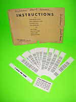 Williams Full House 1966 Original PINBALL MACHINE NOS Score Card Lot & Envelope