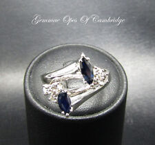 18ct White Gold Sapphire and Diamond Ring Size N 6g