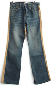 SMOG Herren Men Jeans Hose Straight Gr. M L34 Gerade Denim Blau/ Beige TOP G281