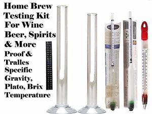 Beer Wine Moonshine Testing Kit - Thermometer Hydrometer Alcoholmeter LCD Jar