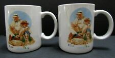 Norman Rockwell Catching The Big One 1987 Museum Collection Coffee Cup Mug Set 2