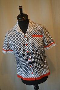 Vintage creation Janet Jordon blouse shirt size medium 10 / 12 rockabilly mod
