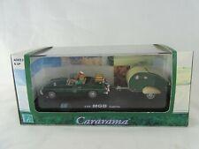 1:43 Hongwell Cararama MGB Cabrio  + Wohnwagen in Vitrine