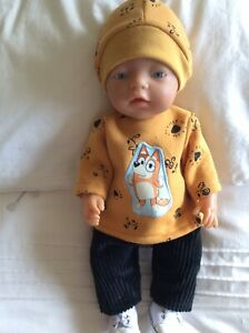 """Doll Clothes to fit 17"""" Baby Born Boy Or Girl Doll : Mustard / Black : Bluey Cha"""