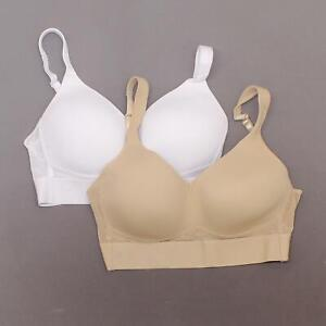 rhonda Shear LOT OF 2 Molded Cup Bra with Mesh Back Detail. 728151 White/Nude L