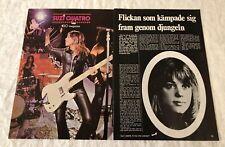SUZI QUATRO 1974 Clippings Swedish Poster Magazine GO 1970s - Rare Vintage