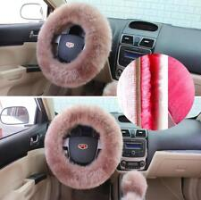 36-38cm Furry Car SUV Steering Wheel Cover w/ Shifter Cover+Parking Brake Cover