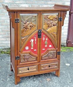 Oriental Chinese Elm Tall Cabinet Hand Carved Panels Semi Precious Stone Collage