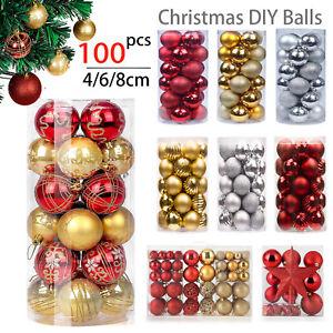 124PCS Christmas Tree Balls Glitter Decorations Baubles Party Wedding Ornament