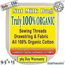 Irregular Nut Milk Bags 100% Organic Cotton, USA grown. Sewing Threads-Organic