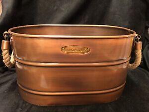 Copper Finish Smith & Hawken Planter Drink Beverage Tub Bathroom Towel Storage