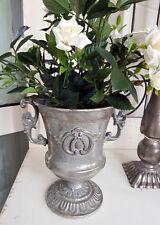 Pokal Amphore Pflanzschale Antik Silber Metall Sabby Vintage Landhaus Nr.13 Deko