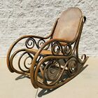 Antique Bentwood Thonet Style Ornate Spiral Cane Rattan Rocking Chair