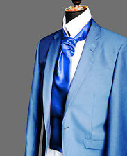 ROYAL BLUE GLASS satin Ascot CRAVAT Neck Tie Scarf