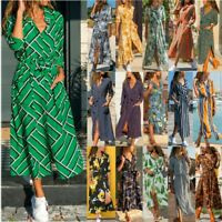 2020 Summer Boho Women Long Sleeve Floral Print Dress Beach Holiday Midi Dresses